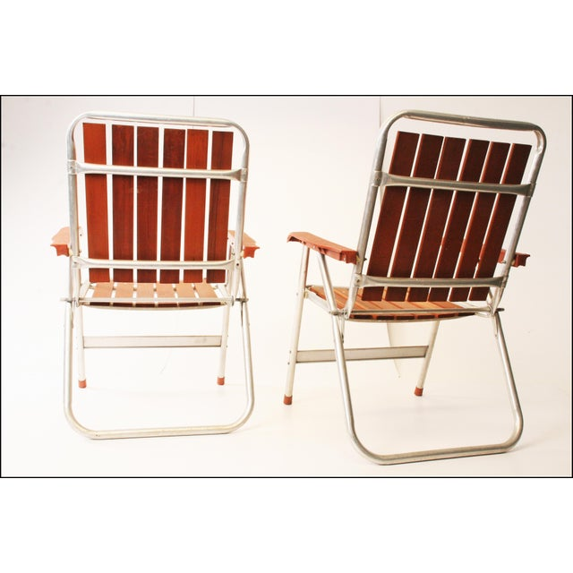 Vintage Redwood & Aluminum Folding Patio Chairs - A Pair For Sale - Image 6 of 11