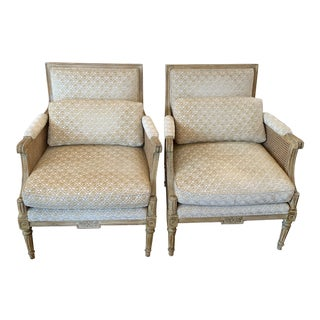 Pair of Vintage Bergere Chairs Double Caning For Sale