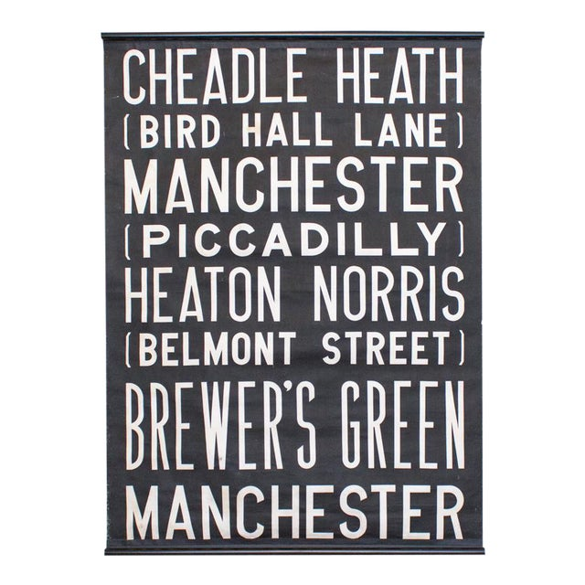 Uk Bus Route Sign on Linen   1960's British Transit Scroll   Industrial Graphic Print For Sale