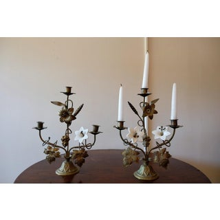 Antique Porcelain Flower Candle Holders - A Pair Preview