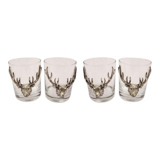 Glass Set With Deer - Set of 4 For Sale