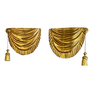19th Century Gilt Wood Faux Drapes With Carved Gilt Tassels- a Pair For Sale