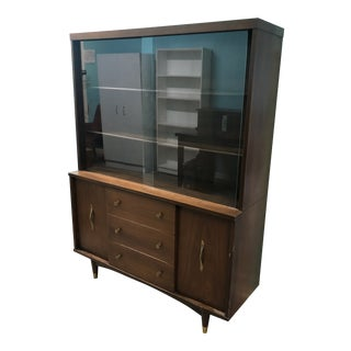 Mid Century Modern China Cabinet With Sliding Glass For Sale