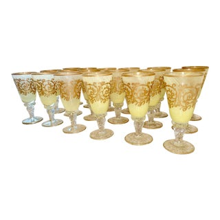 Murano Hand-Blown, Yellow/Chartreuse Ombré, Wine /Water Goblets - 3 Sets of 6 For Sale