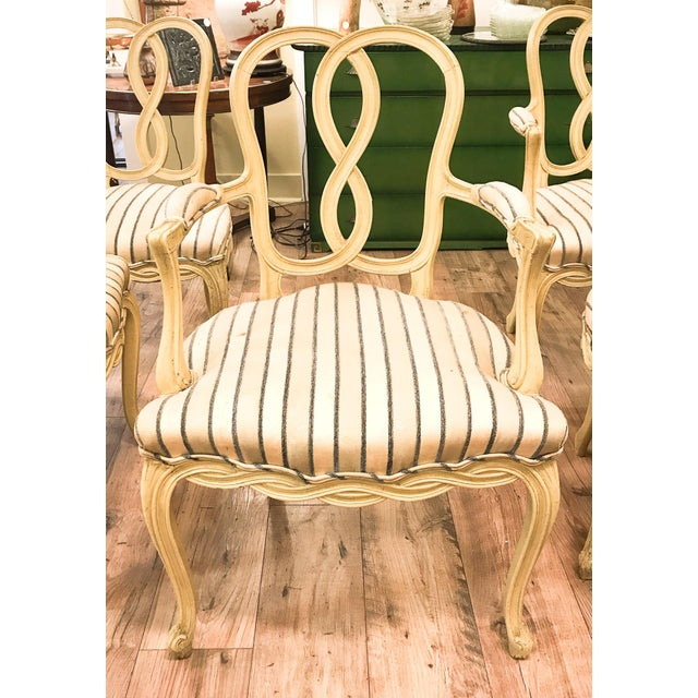 Set of 6 Mid Century Hollywood Regency Ribbon Back Dining Chairs - Image 2 of 12