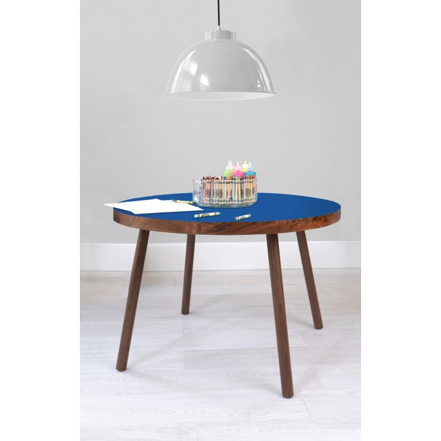 "Contemporary Poco Large Round 30"" Kids Table in Walnut With Pacific Blue Top For Sale - Image 3 of 4"