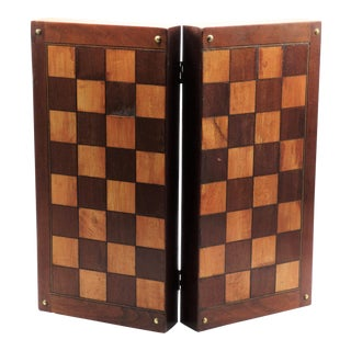 Antique English Inlay Chess Checkers Folding Games Box For Sale