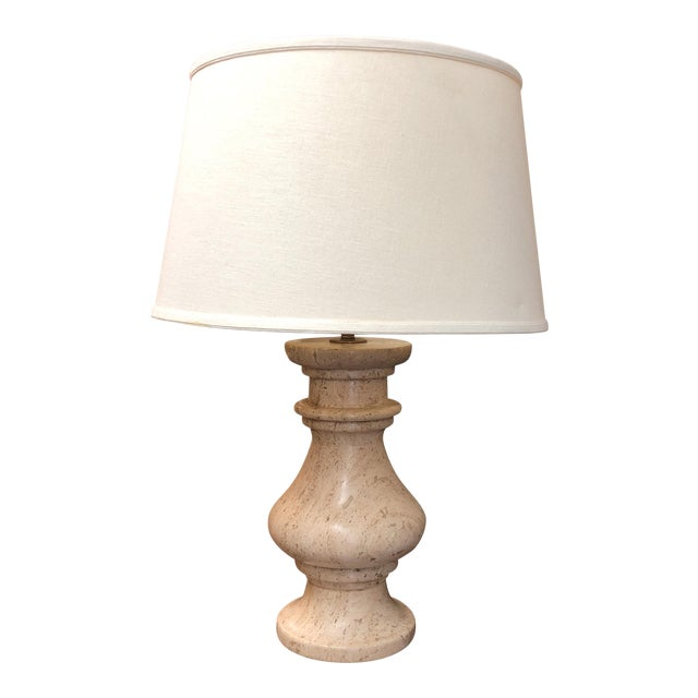Travertine Table Lamp With Shade For Sale