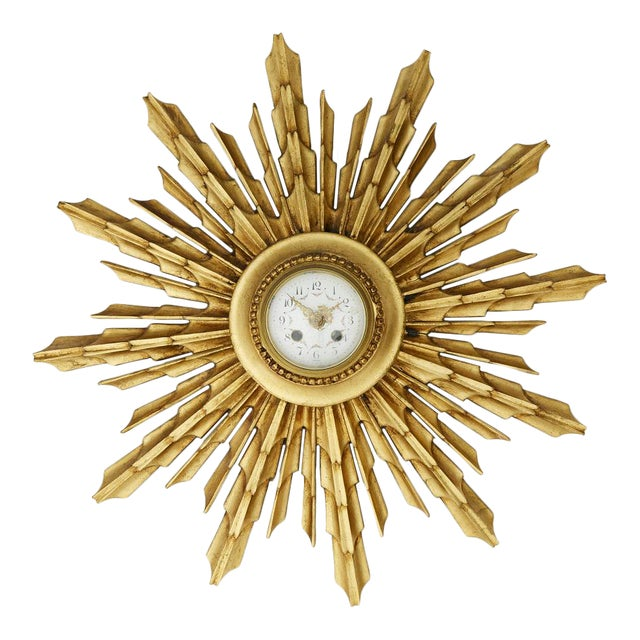 Vintage Gilded Wall Clock For Sale