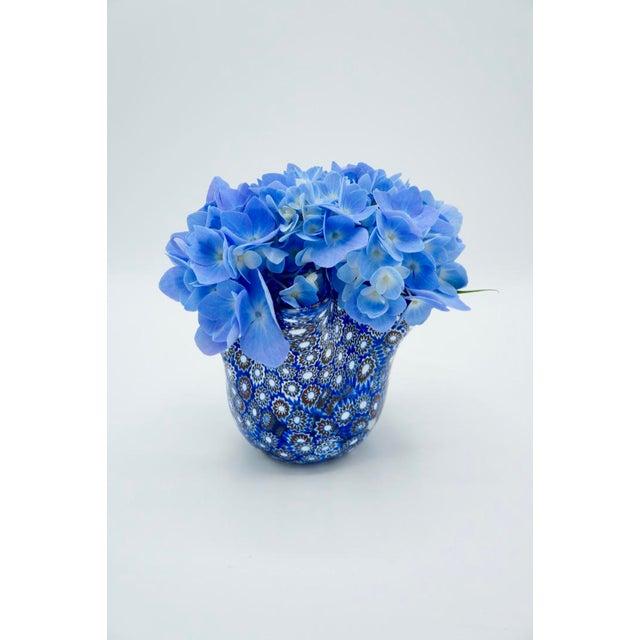 Vintage Blue Murano Millefiori Handkerchief Vase For Sale - Image 11 of 13