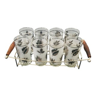 Glasses - 1970s Mid-Century Glasses With Carrier-Set of 8 For Sale