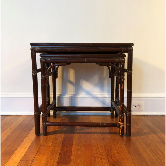 Asian Mitchell Gold & Bob Williams Modern Bamboo Rattan Nesting Tables - a Pair For Sale - Image 3 of 7