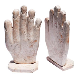 Pink Marble Stone Sculptural Hand Bookends - a Pair For Sale
