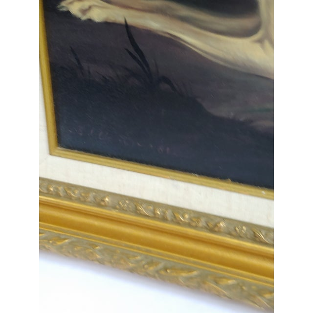 Blue Mid 20th Century Portrait of Two Elegant Dogs Oil Painting, Framed For Sale - Image 8 of 11