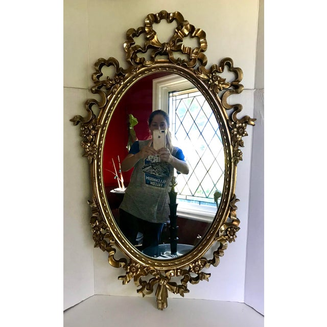 Gold Vintage Syroco Oval Wall Mirror With Gold Bow Designs For Sale - Image 8 of 8