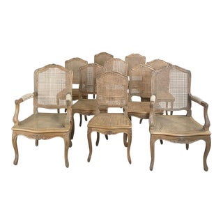 Set of 10 French Louis XV Caned Dining Chairs Includes 2 Armchairs For Sale