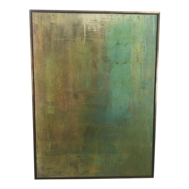 Abstract Aqua Textural Painting - Image 1 of 6