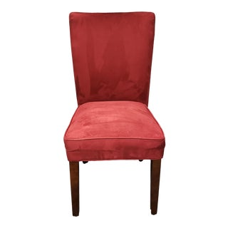 Upholstered Ultrasuede Raspberry Red Chair For Sale