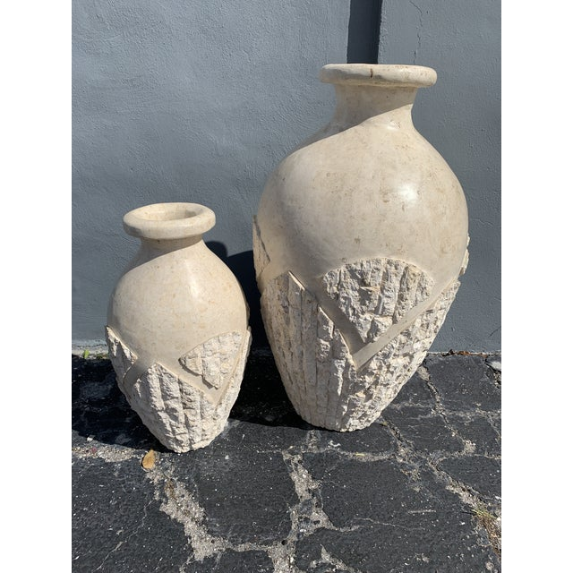 Mid-Century Modern Tessellated Mactan Stone Floor Vases - A Pair For Sale - Image 3 of 12