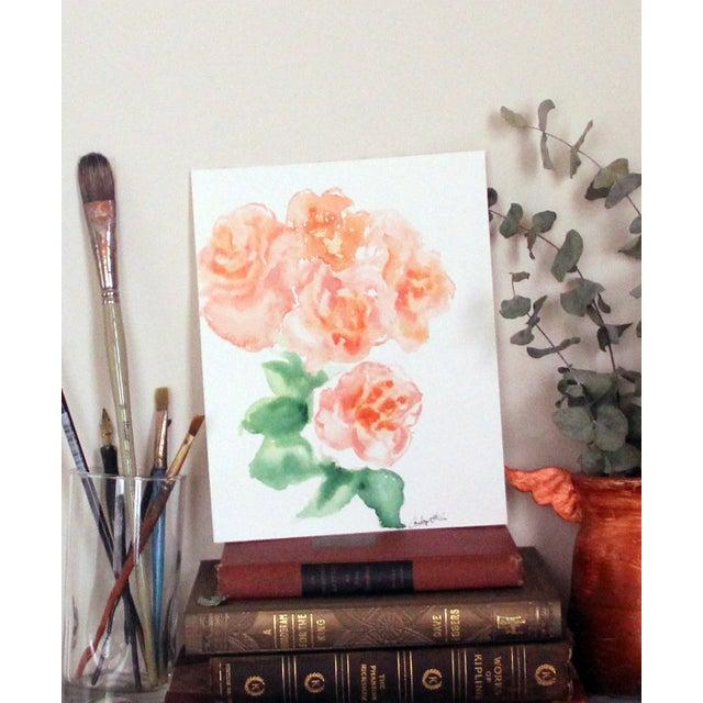 """Peach Peonies"" Watercolor Painting - Image 3 of 4"