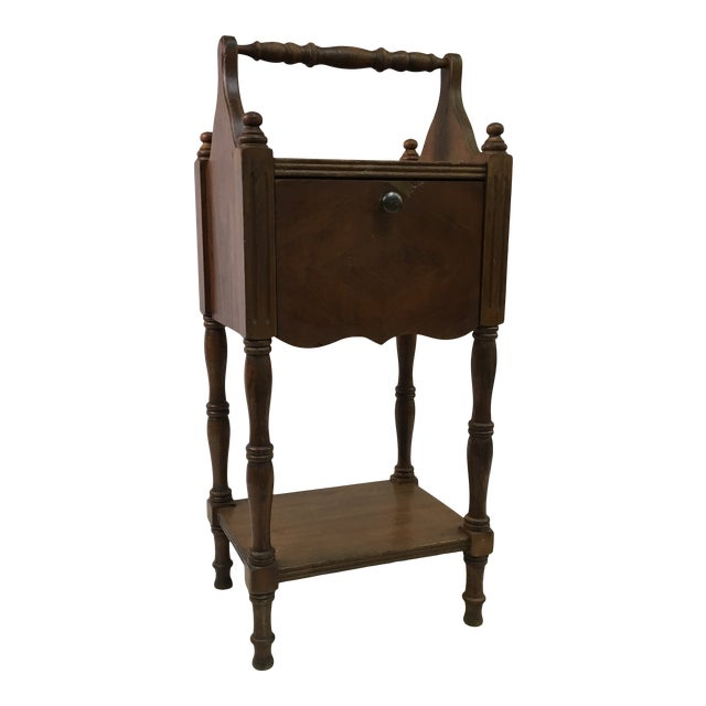 Antique Oak Copper-Lined Humidor Smoking Side Table For Sale