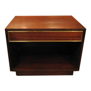 Harvey Probber Mahogany and Brass Bed Side Table For Sale