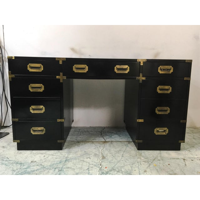 Lacquered Campaign Style Desk - Image 2 of 6