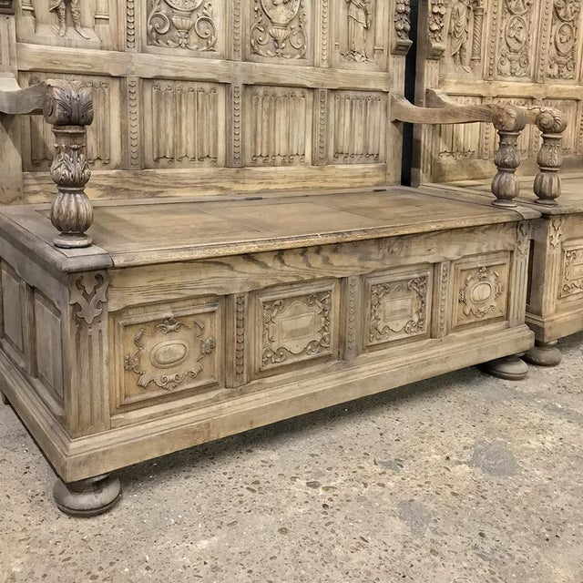 Pair 19th Century Italian Stripped Oak Hall Benches For Sale - Image 11 of 13