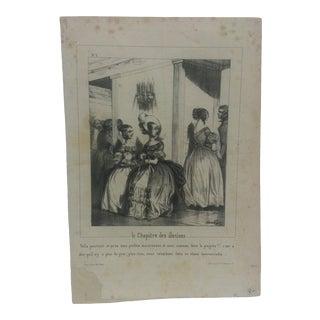 "Antique Mounted French Print, ""Le Chapitre Des Illusions"" For Sale"