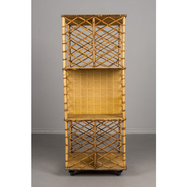Mid 20th Century Mid-Century French Riviera Bamboo & Rattan Bookcase For Sale - Image 5 of 11