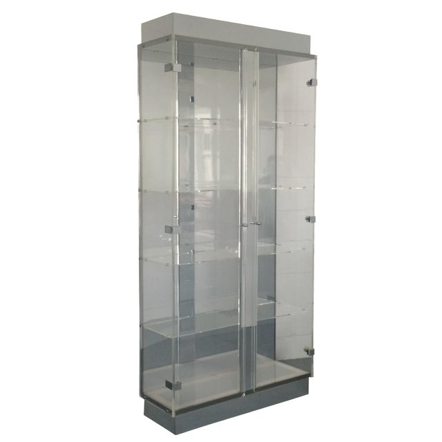 Lucite and Chrome Lighted Curio Display Cabinet For Sale