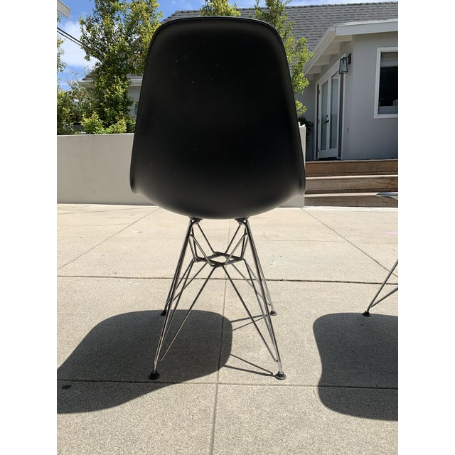 Black Eames Molded Plastic Side Chairs- Set of 4 For Sale In Los Angeles - Image 6 of 9