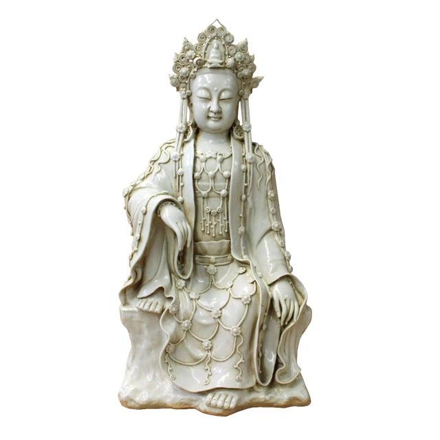 Chinese Tong Style Porcelain Kwan Yin Tara Bodhisattva Statue For Sale