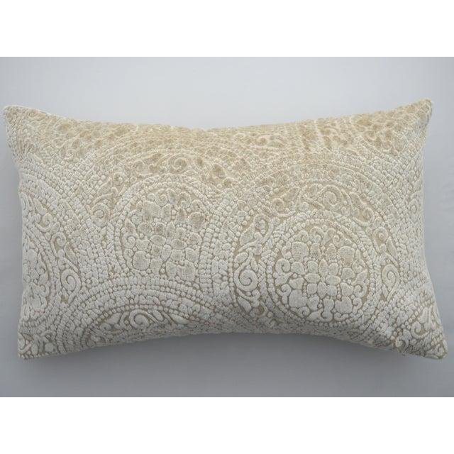2010s Italian FirmaMenta Cream Lace Linen Velvet Lumbar Pillow For Sale - Image 5 of 5