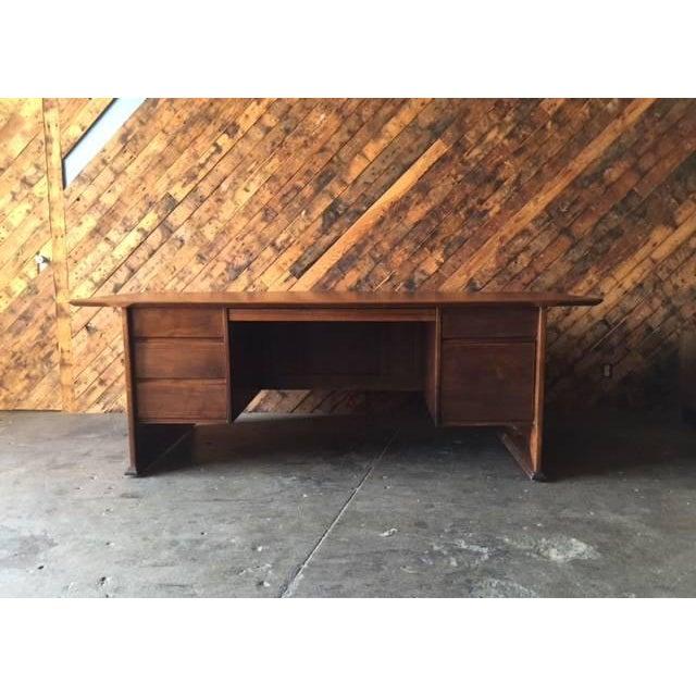 1970's Monteverdi Young Walnut Executive Desk - Image 4 of 9
