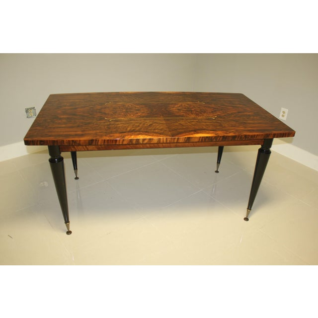 Gold 1940s French Art Deco Exotic Burl Walnut Writing Desk / Dining Table For Sale - Image 8 of 13