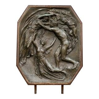 1920s Antique Bronze Wall Relief Sculpture Man & Spirit Signed Henry Pegram For Sale