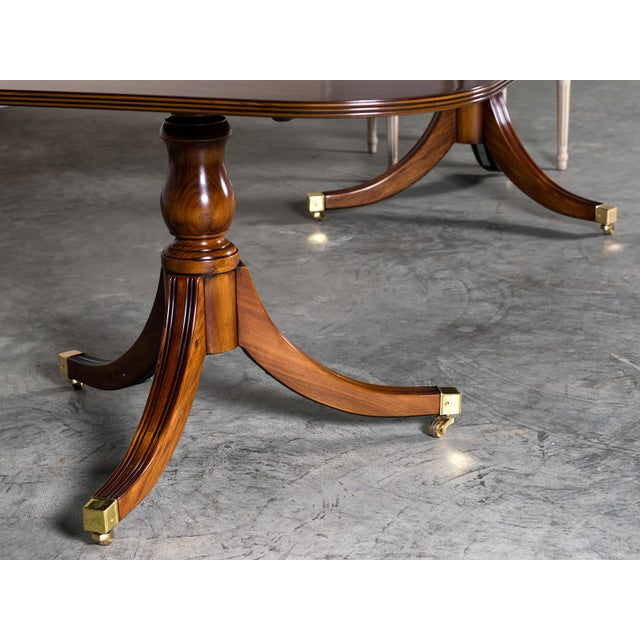 Burl Walnut Sheraton Style Double Pedestal Dining Table, Two Leaves, Hand Made in England - Image 8 of 11