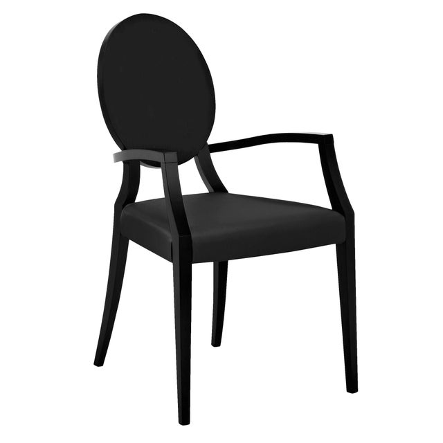 Domitalia Black Leather Arm Chair For Sale