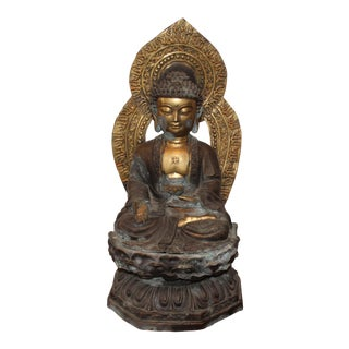 Vintage Bronze Gilded Sitting Chinese Medicine Buddha Statue For Sale