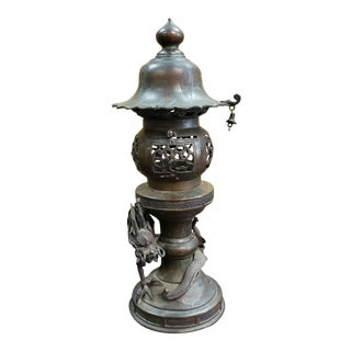Late 19th Century Japanese Bronze Dragon Temple Altar Lantern, Meiji Period For Sale