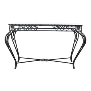 1960s French Wrought Iron Marble Coffee Table For Sale