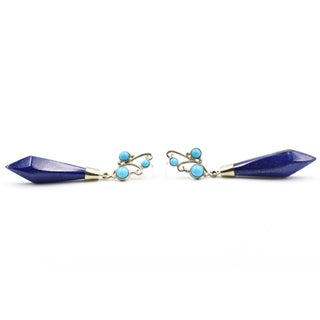 Lapis Lazuli & Turquoise Sterling Silver Drop Earrings Preview