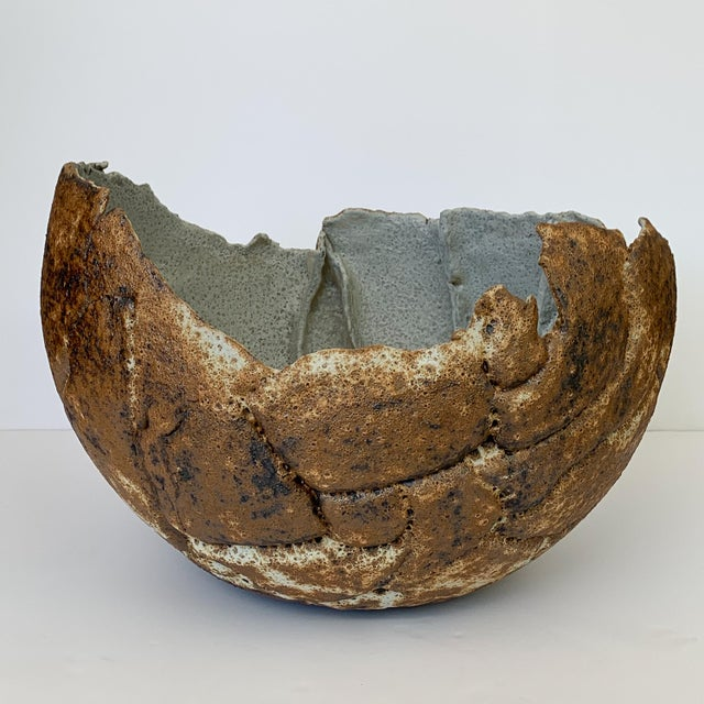 Brutalist Monumental Stoneware Vessel or Bowl by Michael Becker For Sale - Image 3 of 13