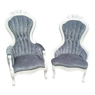 Blue Crushed Velvet Victorian Chairs - a Pair For Sale
