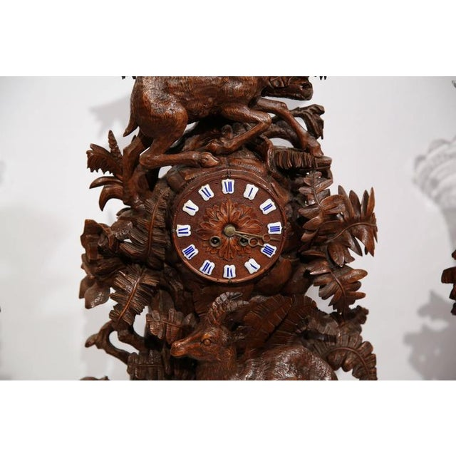 Black Forest Monumental 19th Century Carved Walnut Black Forest Clock With Matching Vases For Sale - Image 3 of 10