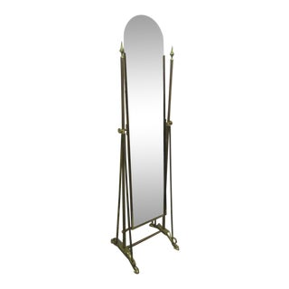 Art Deco Brass Cheval Mirror For Sale