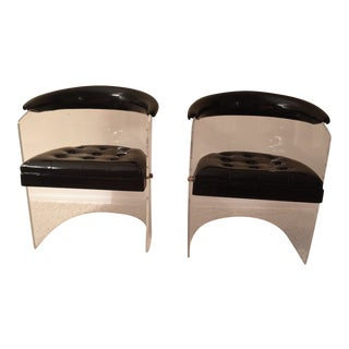Lucite & Black Leather Barrel Chairs by Hill Manufacturing Co. Furniture - A Pair