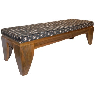 Smania 1970s Vintage Italian Modern Brown and White Bench in Solid Walnut For Sale