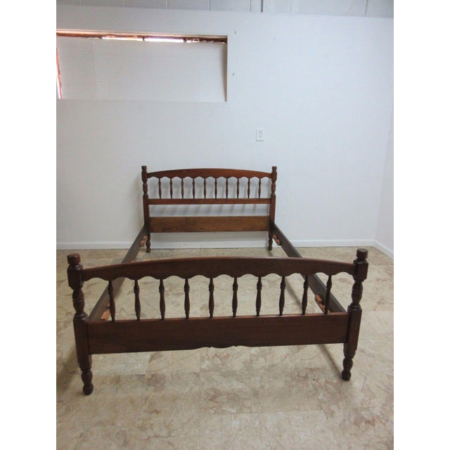 Stickley Cherry Spindle Carved Full Size Headboard Bedframe - Image 4 of 5